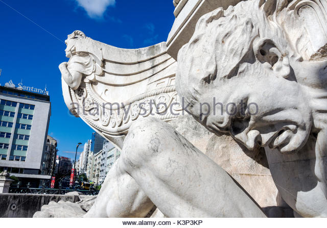 Lisbon Portugal Marquis of Pombal Square Marquess monument plaza roundabout rotunda monument detail sculpture - Stock Image