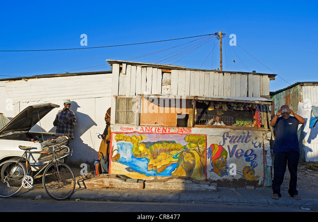 South Africa, Western Cape, Cape Town, the township of Kayelitsha, local shop - Stock-Bilder