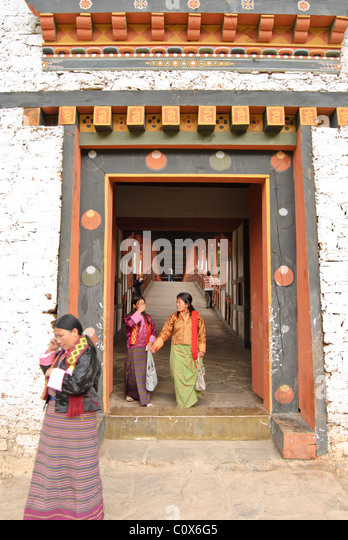Passageway to Punakha Dzong, Punakha, Bhutan - Stock Image