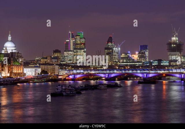 London Skyline, View of the City of London and the River Thames from Waterloo Bridge, London,  England, UK - Stock Image