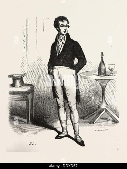 Francois Picaud, Alexandr Dumas, 19th century, liszt gourmet archive, bottle, glass, table, man, hat - Stock Image