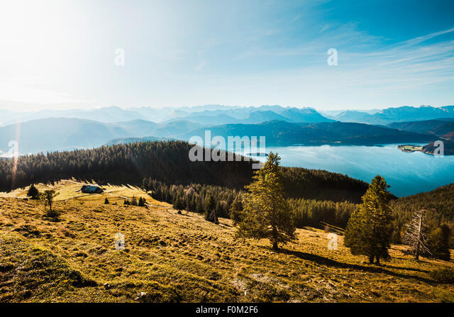 View from Jochberg to the Walchensee lake and Karwendel mountains, Bavaria, Germany - Stock-Bilder