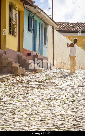 everyday life on the streets if trinidad,cuba - Stock-Bilder