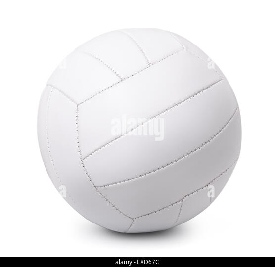 White leather volleyball isolated on white - Stock Image