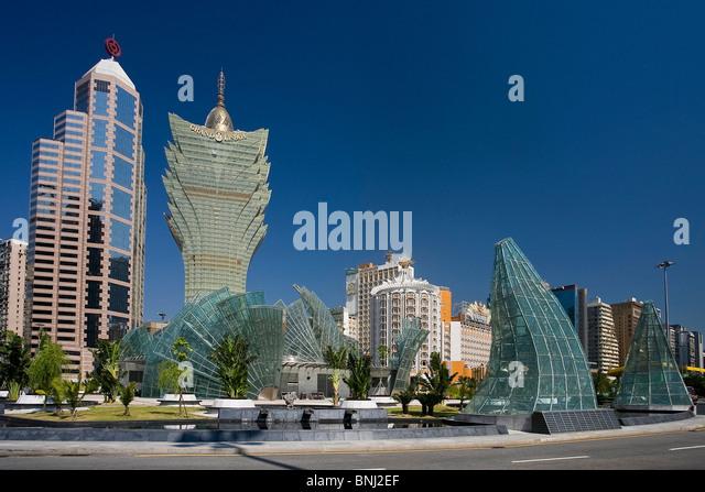 China Macao Macau city Jardim of the Artes Grand Lisboa casino casino reflecting mirror buildings constructions - Stock Image