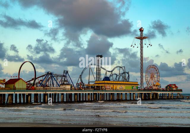 Galveston Island Historic Pleasure Pier Texas USA - Stock Image
