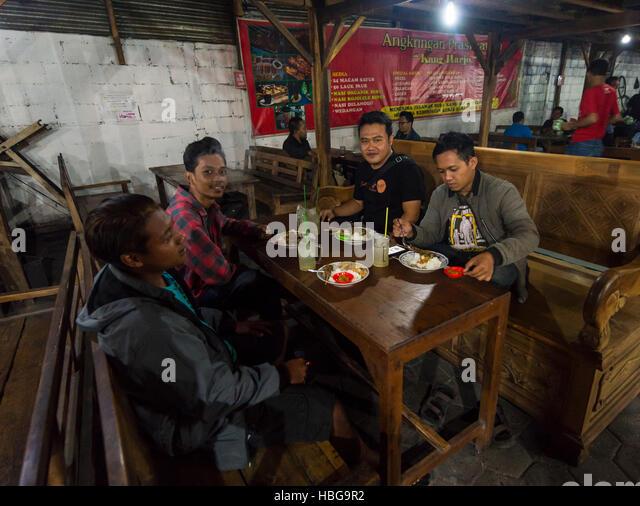 Locals eating Indonesian food, Food Market, Yogyakarta, Java, Indonesia - Stock Image