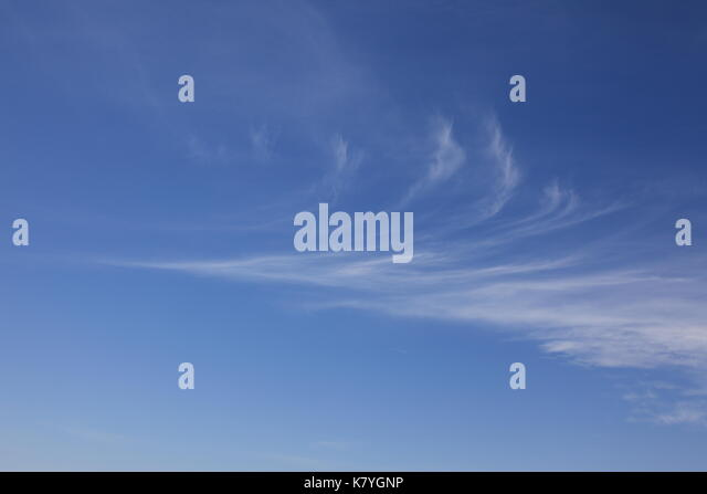 Cirrus Clouds Against a Blue Sky.  Photo by Willy Matheisl - Stock Image