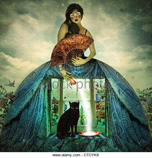 The girl That Dreams Too Much, dreaming girl wearing fancy window dress with black cat sitting in window - Stock Image