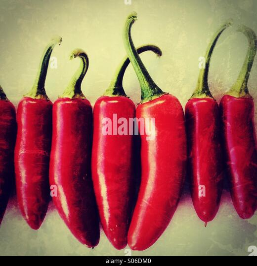 Serrano Chile Peppers - Stock Image