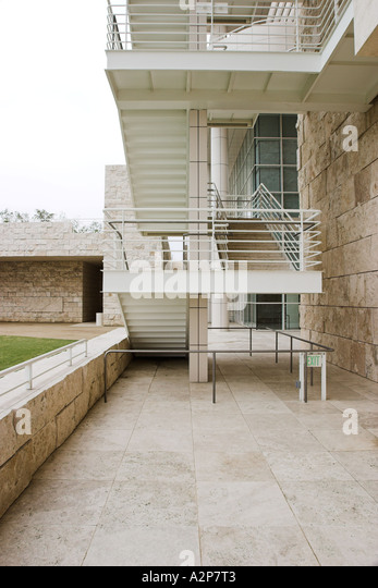 A staircase at the J. Paul Getty Museum in Los Angeles, CA. - Stock Image