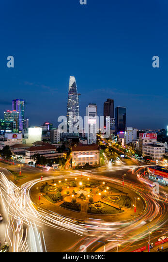 Dusk twilight skyline cityscape view of District 1 and Bitexco Financial Tower in Ho Chi Minh City, Vietnam. - Stock Image