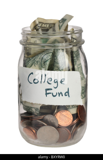 College fund jar on white background - Stock Image