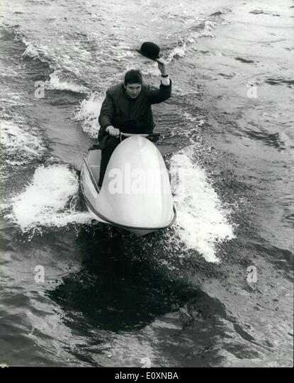 Jun. 06, 1967 - Demonstrating the Unique ''Scooter ski'' in London's St. Katherine's dock: - Stock Image