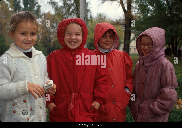 Russia former Soviet Union Moscow young students winter coats - Stock Image