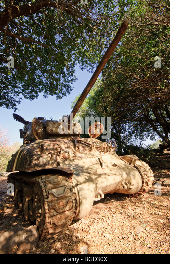 Golan Heights, Israel. An abandoned old 'Sherman' Tank camouflaged under a tree canopy. M51 Variant. - Stock Image