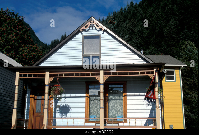 Alaska Juneau old wood home - Stock Image