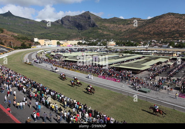 General view of Horse Racing at Champ de Mars, Port Louis, Mauritius. - Stock Image