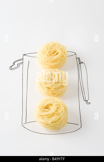 Dried noodles in drawing of canister - Stock-Bilder