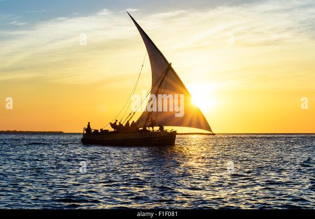 Arab Dhow Zanzibar Tanzania sunset Africa - Stock-Bilder