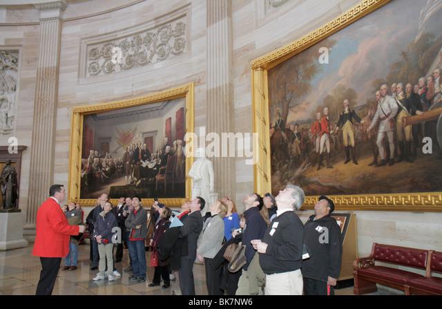 Washington DC United States US Capitol Rotunda history government paintings Surrender of General John Burgoyne Declaration - Stock Image