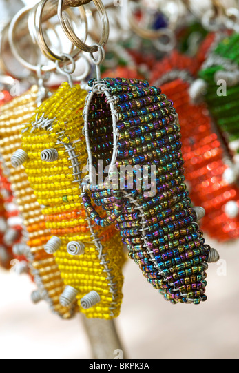 Beaded world cup souvenirs for sale in Franschhoek, Western Cape Province, South Africa. - Stock Image