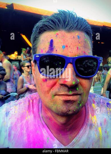 Portrait Of A Man Playing With Color - Stock Image