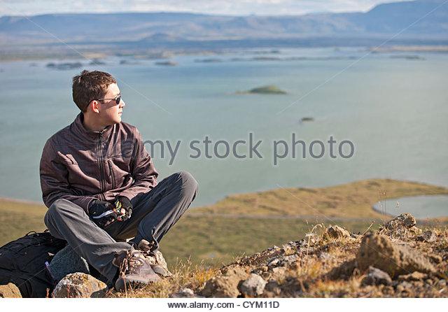 Man overlooking rural landscape - Stock Image