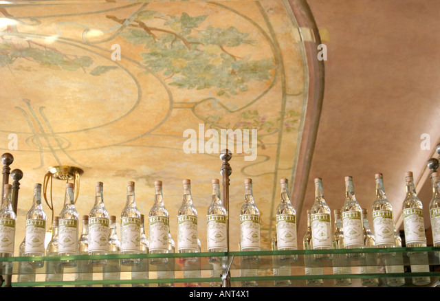Bottles of Meleti,an after dinner aperitif created by the owner of the  Caffe Meletti Ascoli Piceno Le Marche Italy - Stock Image