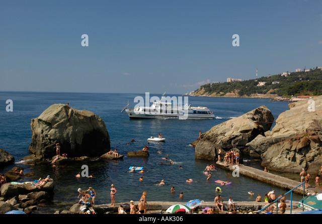 Crimea, Alupka, beach - Stock Image