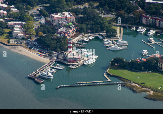 Aerial of boating community USA - Stock Image