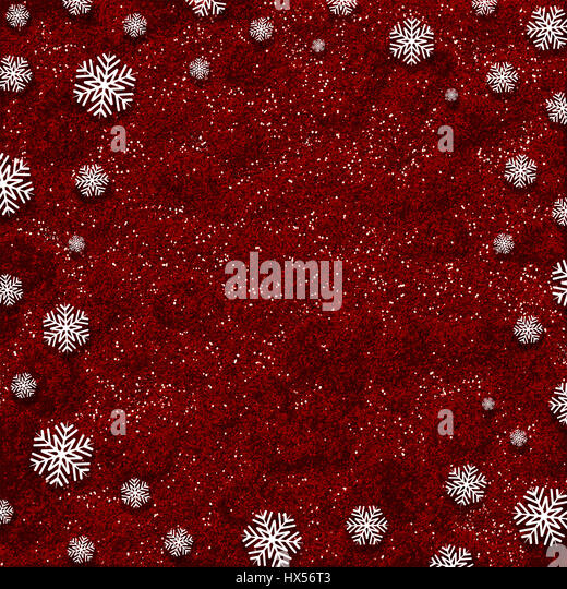 Snowflakes on a red glittery background - Stock Image