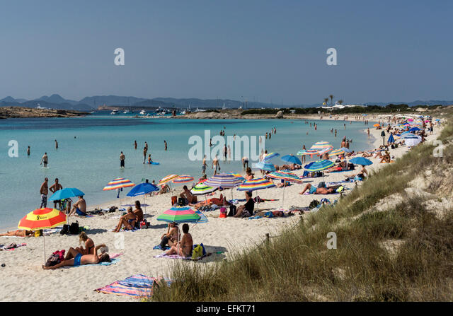 Playa de Ses Illetes, beach, Formentera, Balearic Islands, Spain - Stock Image