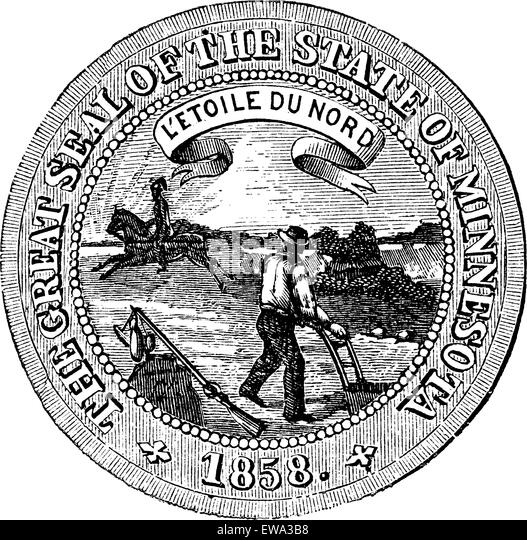 Seal of the State of Minnesota, vintage engraved illustration.   Trousset encyclopedia (1886 - 1891). - Stock Image