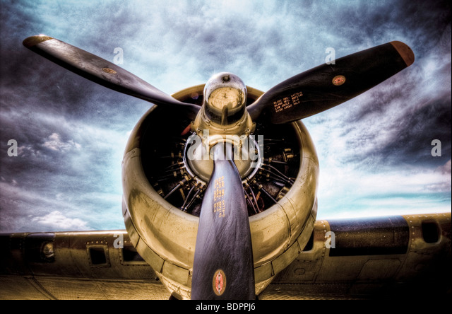 Propellor blades on an old aircraft - Stock Image