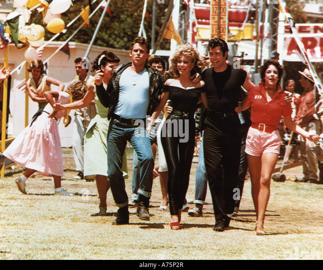 GREASE 1978 Paramount film with from l: Jeff Conaway, Olivia Newton-John, John Travolta and Stockard Channing - Stock Image