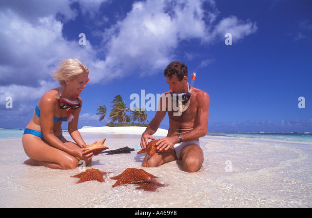 Couple snorkeling with starfish on tropical beach with palm trees Caribbean watersports outdoor recreation - Stock Image