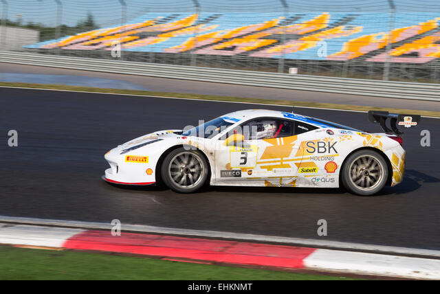 ISTANBUL, TURKEY - OCTOBER 25, 2014: Costantino Bertuzzi drives Ferrari 458 Challenge EVO of Rossocorsa Racing Team - Stock Image