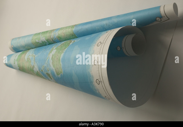 World map rolled up into scroll - Stock Image