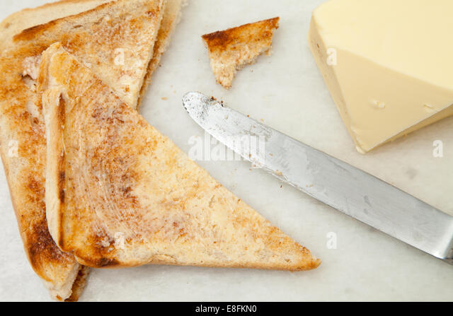 Slices Of Toast And Butter - Stock Image