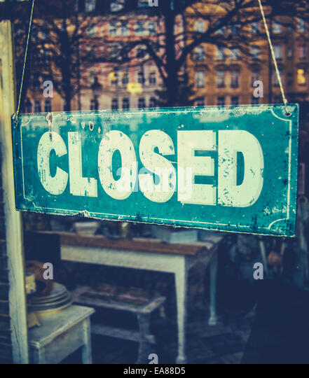 Vintage Closed Sign In Boutique Store - Stock Image