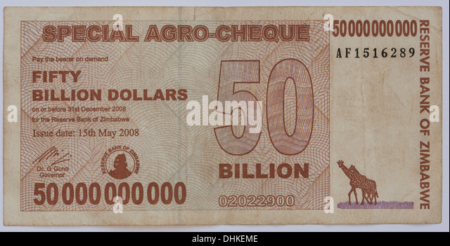 A 50 Billion Zimbabwe dollar Note - the  Zimbabwe dollar was the official currency of Zimbabwe from 1980 to 12 April - Stock Image