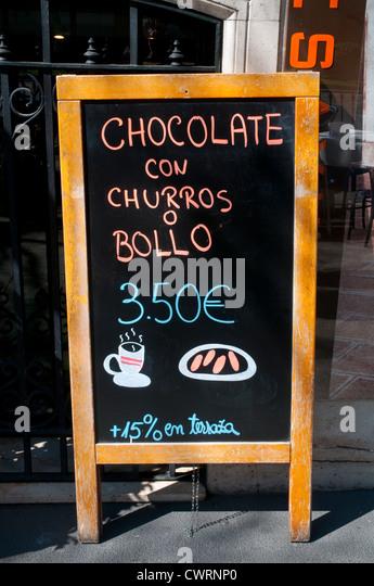 Breakfast menu board. Madrid, Spain. - Stock Image
