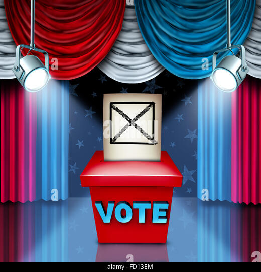American Ballot box election concept with red white and blue United States flag color curtains as a metaphor for - Stock Image