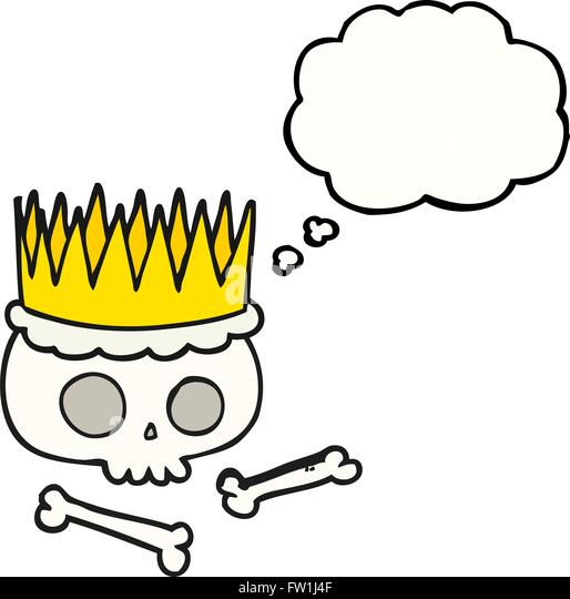 freehand drawn thought bubble cartoon crown - Stock Image