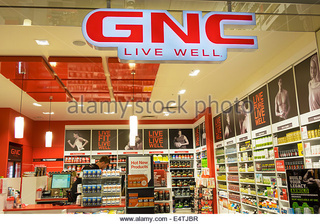 Melbourne Australia Victoria Central Business District CBD Central sale shopping GNC Live Well dietary supplements - Stock Image