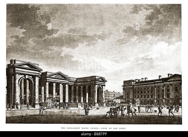 Parliament House Dublin 1800 print of a street scene in the heart of Georgian Dublin - Stock Image