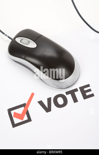 Vote and Computer mouse, Online Voting - Stock Image