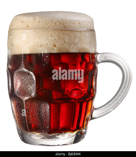 glass of beer on a white background - Stock Image