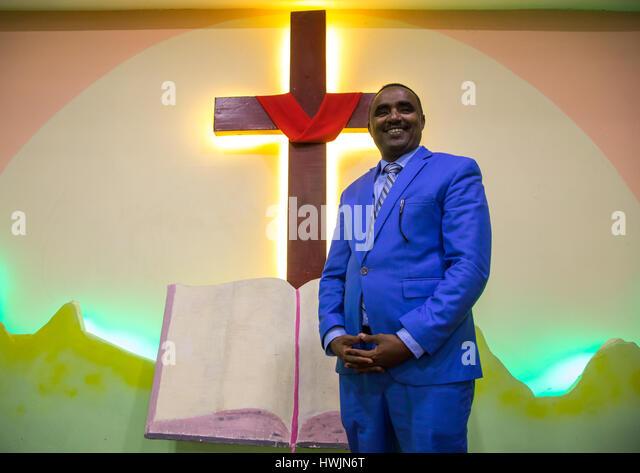 Pastor Kalab Atlabachew in gospel church, Addis Ababa region, Addis Ababa, Ethiopia - Stock-Bilder